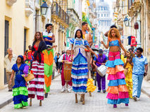 Musicians and dancers on stilts in Old Havana Royalty Free Stock Photos