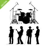 Musicians and drums silhouettes vector Royalty Free Stock Images
