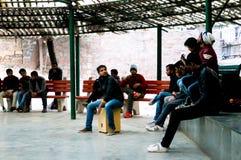 Musicians entertain a crowd at Hauz Khas Royalty Free Stock Photo
