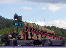 Musicians and female composition of the State academic ensemble of folk dance of Adygeya Nalmes at the festival of Circassian chee stock photo