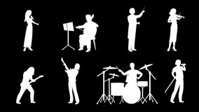 Musicians flat icons animation footage stock footage