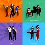 Musicians Flat Set Stock Image