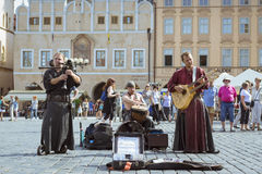 Musicians with folk instruments on old Town Square Prague Stock Photo