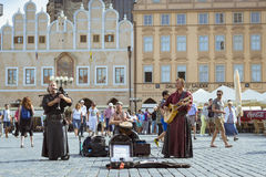 Musicians with folk instruments on old Town Square Prague Royalty Free Stock Photography