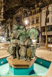 Musicians fountain at grand rue in the night, Luxembourg. Europe Royalty Free Stock Photo