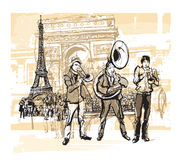 Musicians in front of Eiffel tower in Paris. Vector illustration royalty free illustration