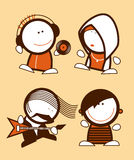 Musicians funny people. Set of musicians, funny people icons Stock Photo