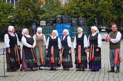 Musicians garbed in period costumes performing   in Oslo, Norway Royalty Free Stock Image