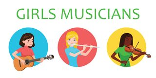 Musicians girls is inspired to play different musical instruments. Violinist, flutist, guitarist. Vector illustration in. Flat cartoon style on white background royalty free illustration
