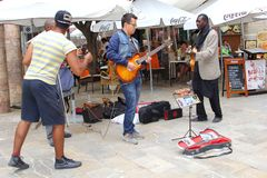Musicians are giving a swinging concert in dynamic Palma, Mallorca, Spain Stock Photo