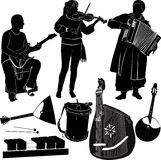 Musicians. Group of musicians and musical instruments guitar violin and accordion player royalty free illustration