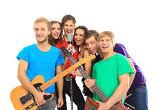 Musicians group playing Stock Photos