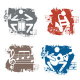 Musicians grunge icons. Stock Photos
