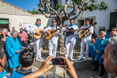 Musicians with guitars in the town Royalty Free Stock Photo