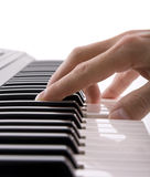 Musicians hand playing the piano Royalty Free Stock Image