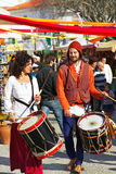 Musicians in a historical festival. Royalty Free Stock Photos