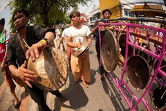 Musicians  hitting Traditional drum and gong in Poy-Sang-Long Fe Royalty Free Stock Photos