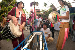 Musicians  hitting Traditional drum and gong in Poy-Sang-Long Fe Stock Photography