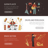 Musicians Horizontal Banners Stock Photo