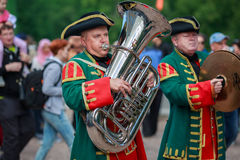 Musicians of the Imperial wind orchestra playing in the Peterhof park. Saint Peterbug, Russia. Stock Photo