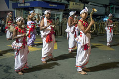 Musicians including Cymbal Players and a horn carrier perform along the streets of Kandy in Sri Lanka during the Esala Perahera. Musicians including Cymbal royalty free stock image