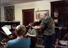 Musicians at an Irish session in Oregon Royalty Free Stock Photos