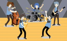 Musicians Jazz group ,Play guitar,Saxophoneist;trumpet player; guitarist, drummer, solo guitarist, bassist. Jazz band.Vector illus. Tration  on background in Stock Images