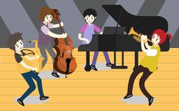 Musicians Jazz group ,Play guitar,Saxophoneist;trumpet player; guitarist, drummer, solo guitarist, bassist. Jazz band.Vector illus. Tration  on background in Stock Image