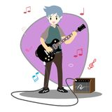 Musicians Jazz group ,Play guitar,Saxophoneist;trumpet player; guitarist, drummer, solo guitarist, bassist. Jazz band.Vector illus. Tration isolated on Royalty Free Stock Image