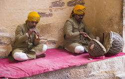 Musicians at Jodhpur fort Stock Photo