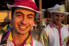 Musicians , Lebanon. Two male musicians in costume, Lebanon Royalty Free Stock Images