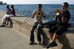 Musicians in Malecón Stock Image