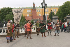 Musicians at the Manege square in Moscow Royalty Free Stock Photography
