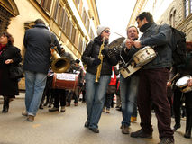 Musicians manifestation. Musicians manifest in Florence against economic politic and unemployement in Italy stock photos