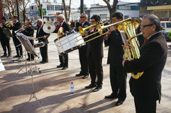 Musicians. Melipilla, Chile. July 27, 2017.  Municipal musicians group in public presentation in the square of the Melipilla city , Chile Royalty Free Stock Photo