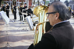 Musicians. Melipilla, Chile. July 27, 2017.  Municipal musicians group in public presentation in the square of the Melipilla city , Chile Royalty Free Stock Photography