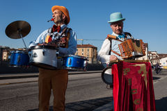 Musicians at Milan Clown Festival 2014 Royalty Free Stock Photography