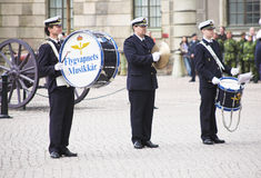 Musicians of military band in Stockholm Royalty Free Stock Photography