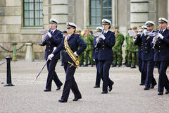 Musicians of military band in Stockholm Stock Photos