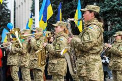 The musicians of the military department of the Ukrainian army play on the parade in Dnepr city. Armed Forces of Ukraine. 7.10 2017 Dnipro, Ukraine. The royalty free stock images