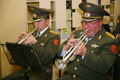 Musicians of a military orchestra. Royalty Free Stock Photo