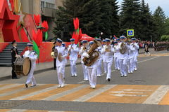 Musicians of the military orchestra is marched in the Parade Stock Image