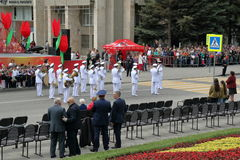 Musicians of the military orchestra participate in the Parade. Russia Stock Photos