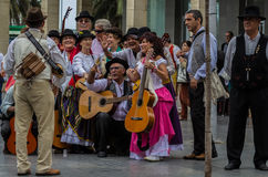 Musicians at the national day of the Canary Islands Stock Image