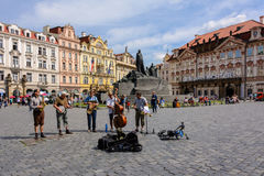 Musicians on Old Town Square, the main square of Prague, Bohemia Royalty Free Stock Photography
