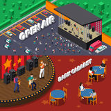 Musicians People Isometric Banners Stock Photos