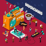Musicians People Isometric Composition Stock Image