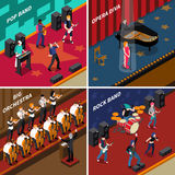 Musicians People Isometric 2x2 Icons Set. Musicans people performing at stage isometric 2x2 icons set isolated vector illustration Stock Images