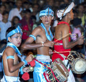 Musicians perform during the Esala Perahera in Kandy, Sri stock image