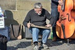Musicians perform live on Charles Bridge in Prague Stock Photo